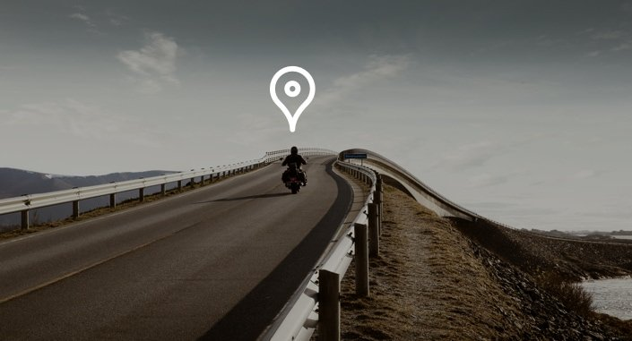 man on motorcycle with location icon overhead